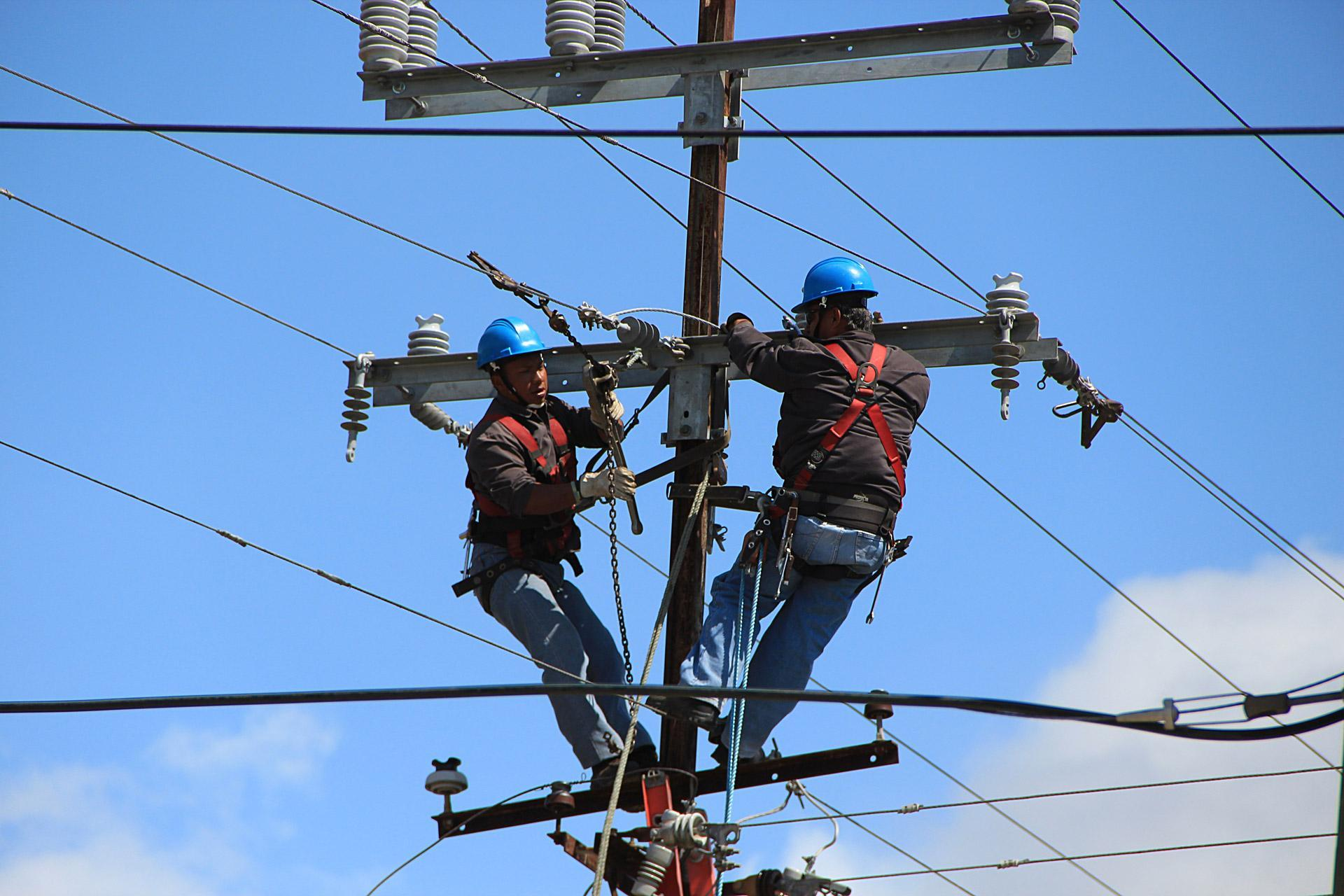 Pole line workers