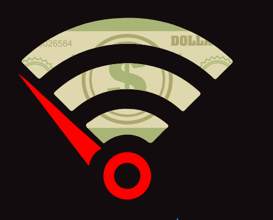 Wifi signal with dollar image in the background